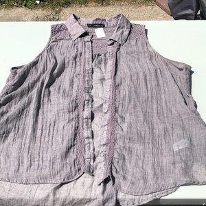 Gray button up sleeveless shirt